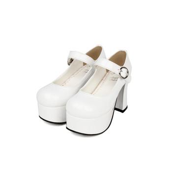 Japońskie buty Lolita 7 5cm gruby obcas gruby platforma królowa czółenka mary jane tanie i dobre opinie Angelic imprint Mary janes Wiosna jesień Wysoka (5 cm-8 cm) Party Pasek klamra WOMEN Classics Okrągły nosek 3-5 cm Pompy