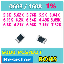 ОМ 0603 F 1% 5000 шт. 5.6 К 5.62 К 5.76 К 5.9 К 6.04 К 6.19 К 6.2 К 6.34 К 6.49 К 6.65 К 6.8 К 6.81 К 6.98 К 7.15 К 7.32 К smd 1608 резистор