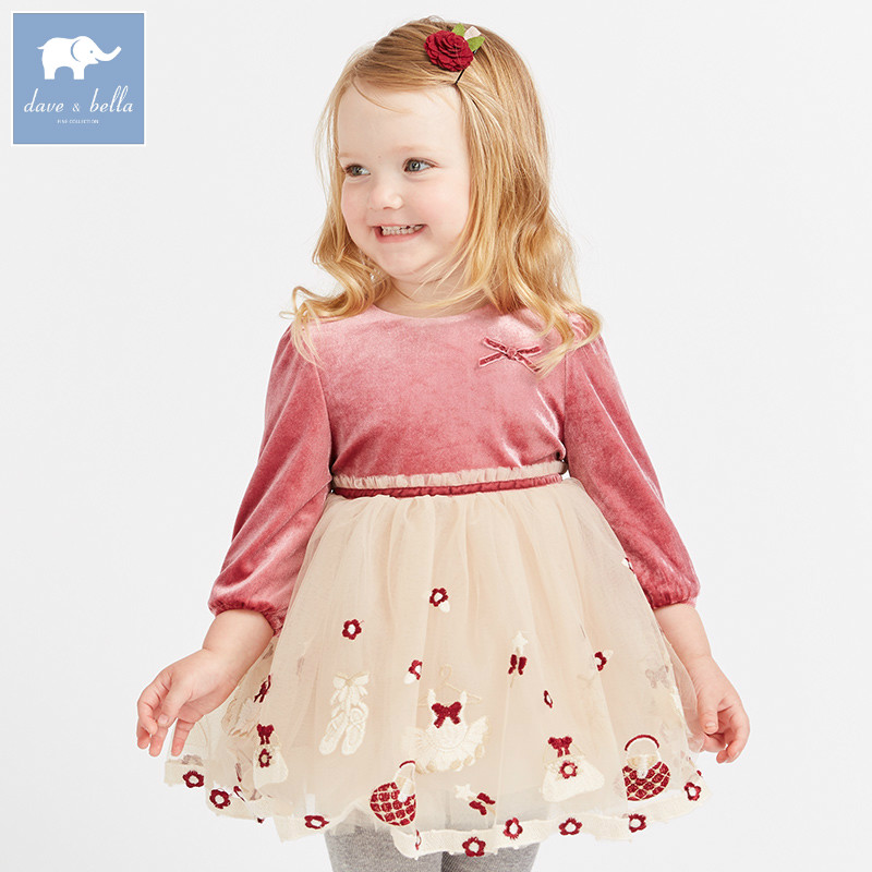 где купить DB8890 dave bella autumn baby Princess dress girls ball gown dress children party wedding clothing infant toddler mesh clothes по лучшей цене