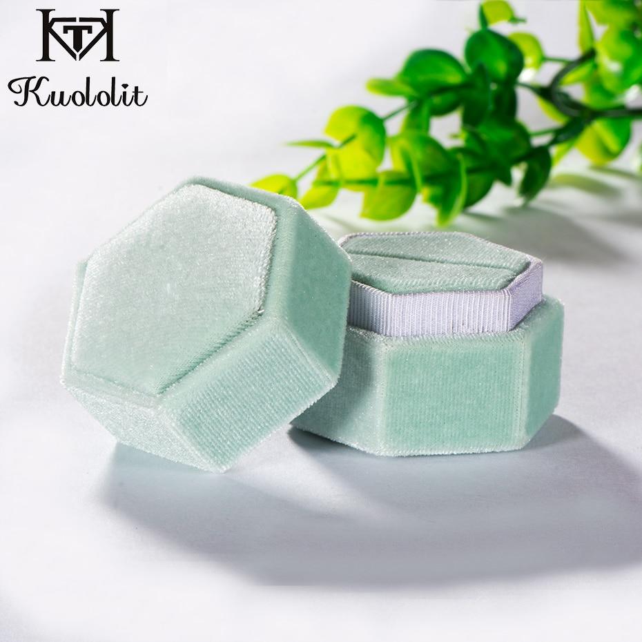 Kuololit  Green Velvet Hexagon Ring Box For Women Handmade Ring Jewelry Box For Wedding Engagement Bridal Gift Packaging Display
