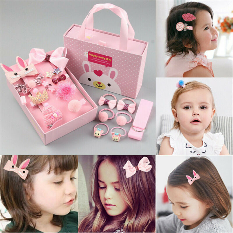 18pcs Baby Girl Bowknot Hair Clip Flower Hair Accessories Hairband Fashion Comfortable Gift Box Set