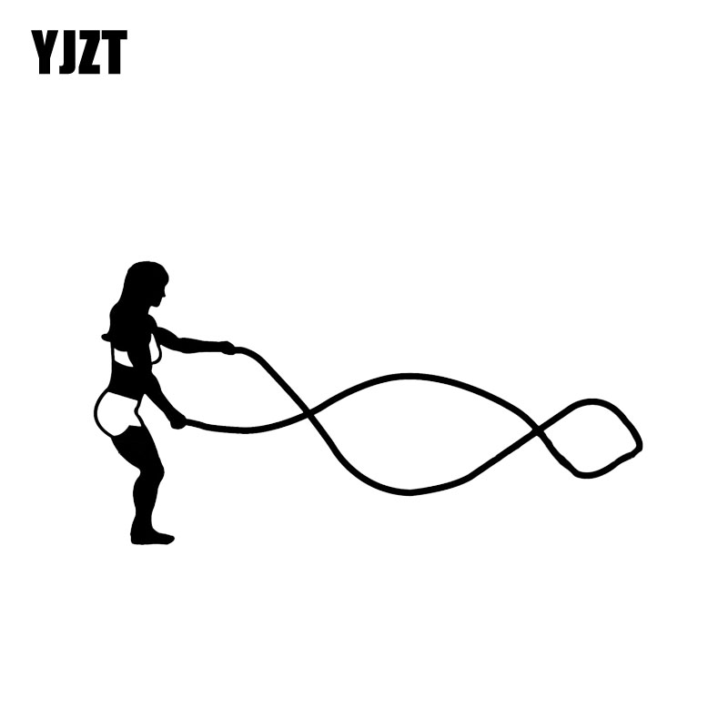 YJZT 14.8*7.7CM Mysterious Out Cross Fit Weight Train Battling Rope Girl Car Stickers Vinyl Silhouette C12-0830