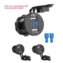 Universal Voltage display Dual USB Car Boat Socket Charger Power Adapter Outlet 12V-24V