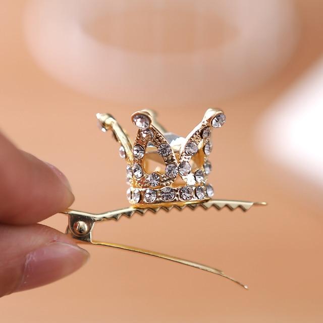Girls Kids Cute Crystal Princess Party Crown Tiara Hair Pin Clips Silver Plated