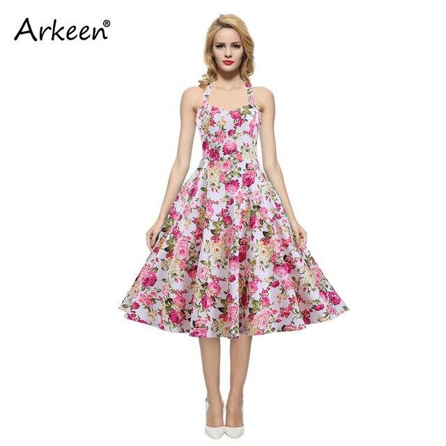 Fashion Floral Backless Halter A Line Dress Women 2017 Vintage ...