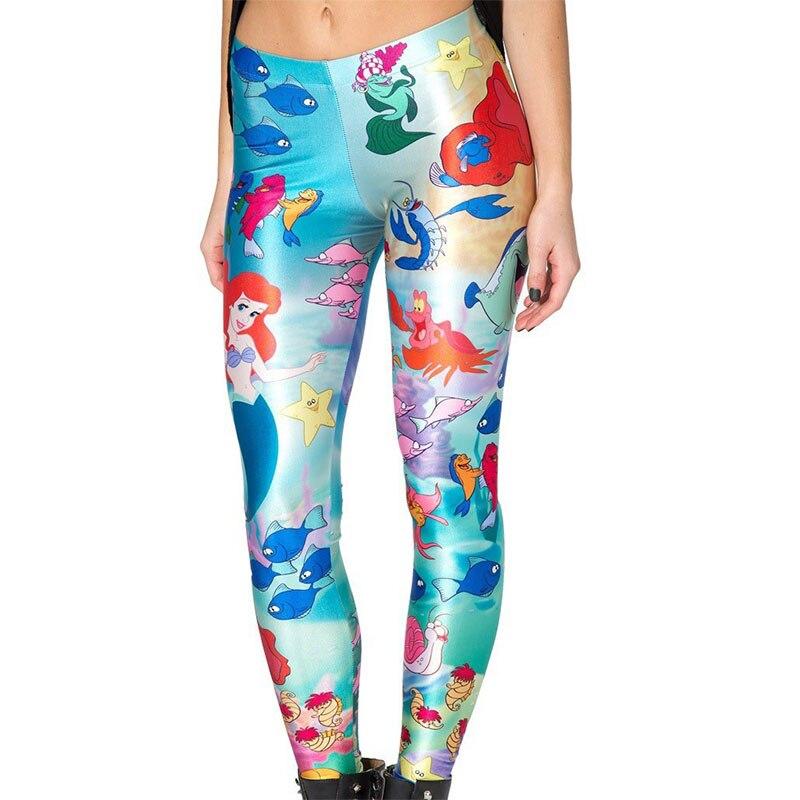 Mermaid Leggings Women Galaxy Leggings Animal Cartoon Characters Mermaid Printed Leggings Woman Leggings