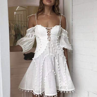 2019 Fashion Strap Off The Shoulder Women White Beach Holiday A line Dress