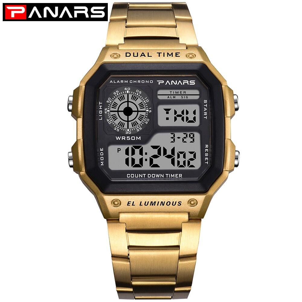 75e584a5126 PANARS Negócios Homens Relógios À Prova D  Água Digital relógio de Pulso  Relógio de Aço