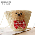 Super adorable bear special offer Crossbody Bag of candy colored straw tie children shoulder woven bag key bag purse