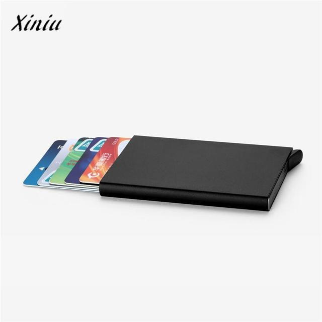 Free shipping Card Holder Stainless Steel Silver Aluminium Credit Card Case Women Wallets Nueva Vogue Men ID Card Box Cartao