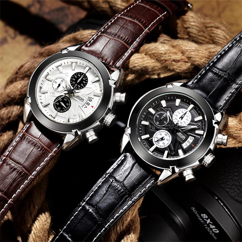 Prix pour Montre Hommes JEDIR Marque Heure En Cuir Mâle Montre Quartz Montres Homme Temps Horloges Relogio Masculino 2017 Montre Homme Relojes Hombre