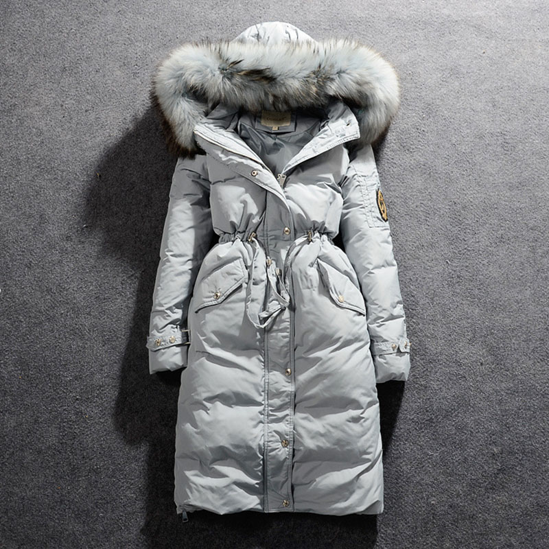 Fashion 2016 Women s Fur Hooded Down Coats Long Solid Zipper Slim Thick Full Sleeve Down