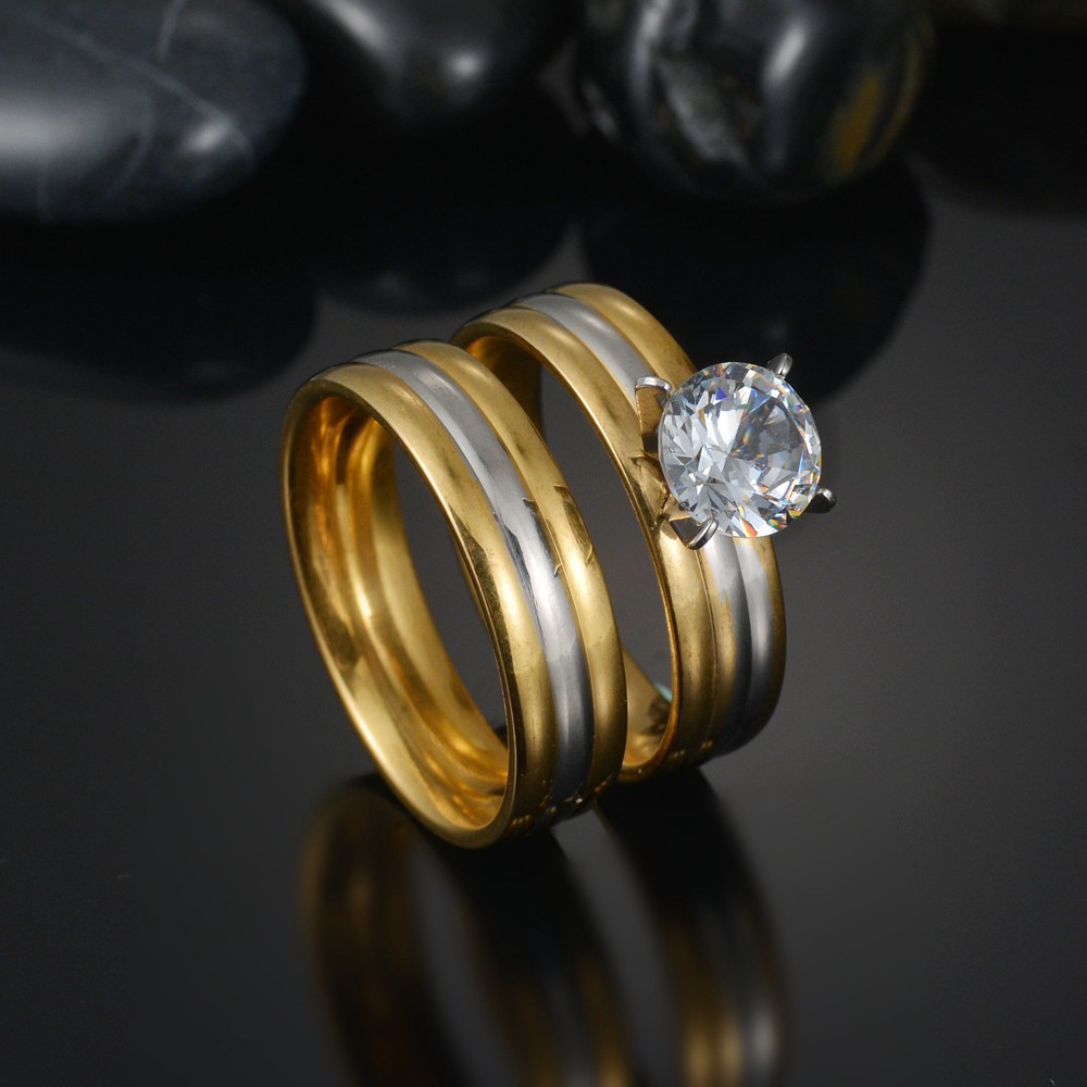 MeMolissa Romantic Double Rings Set Ring For Women Ladies Lover Party Wedding Fashion Rhinestone Rings Clear Crystal Rings 2