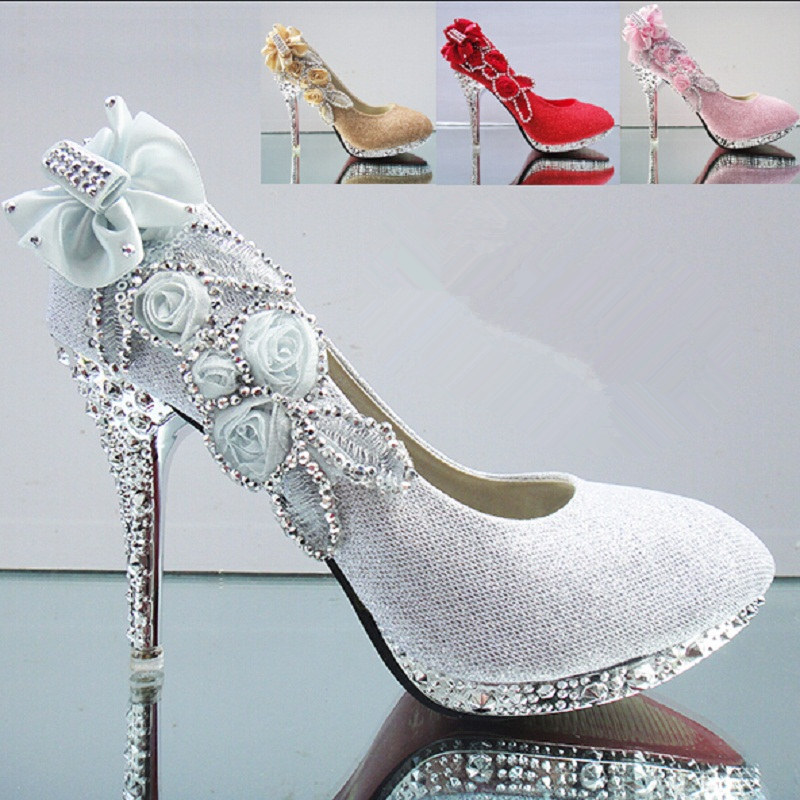 Big Size Women Bridal Shoes High Heels Diamond Fashion Golden Shoes Wedding  Shoes For Women Party Shoes X481 50-in Women s Pumps from Shoes on ... 3248dc94d64d