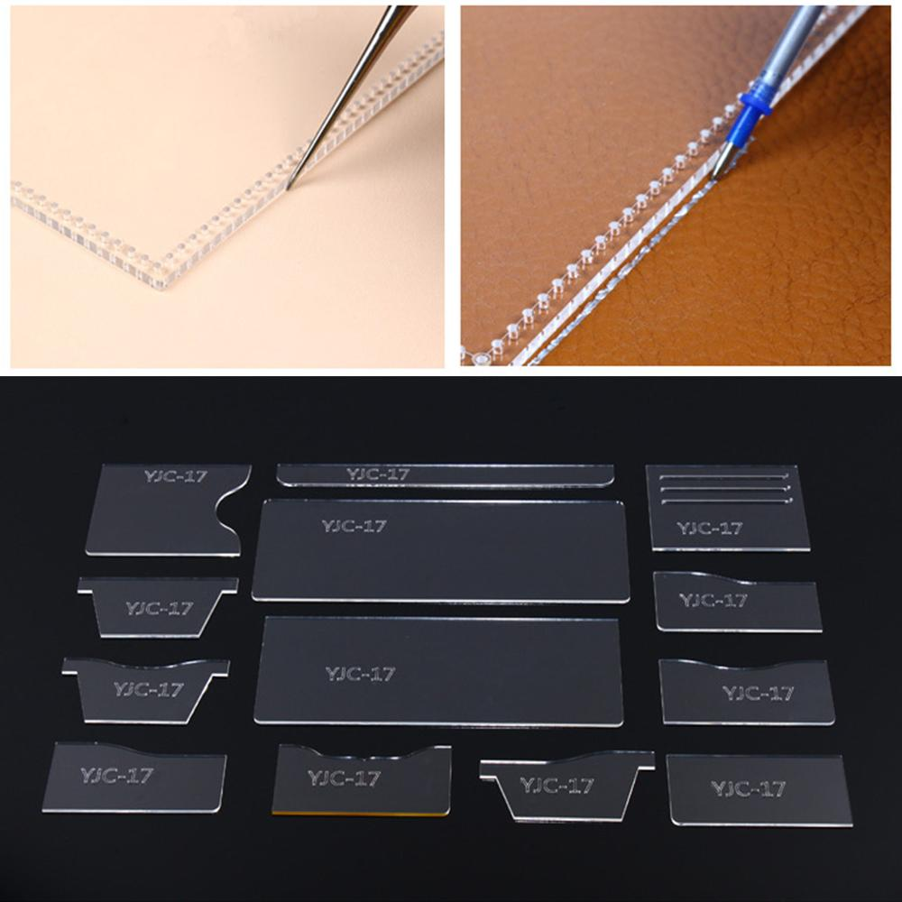 13pcs Clear Acrylic Wallet Pattern Stencil Template Set Leather Craft DIY Kits