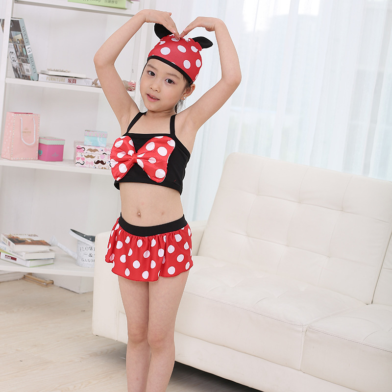Girl Swimming Suit Circle Point Printing Children Swimming Suit Baby Swimwear bikini set swimsuit beach