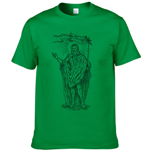 2016 Summer Cotone Christianity Cross Jesus T Shirt Men Tshirt Hip Hop Tops & Tees #039