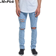 2017 New Men Ankle Zipper Skinny Jeans Ripped Distressed Destroyed Fashion Casual Designer Brand Urban Jeans