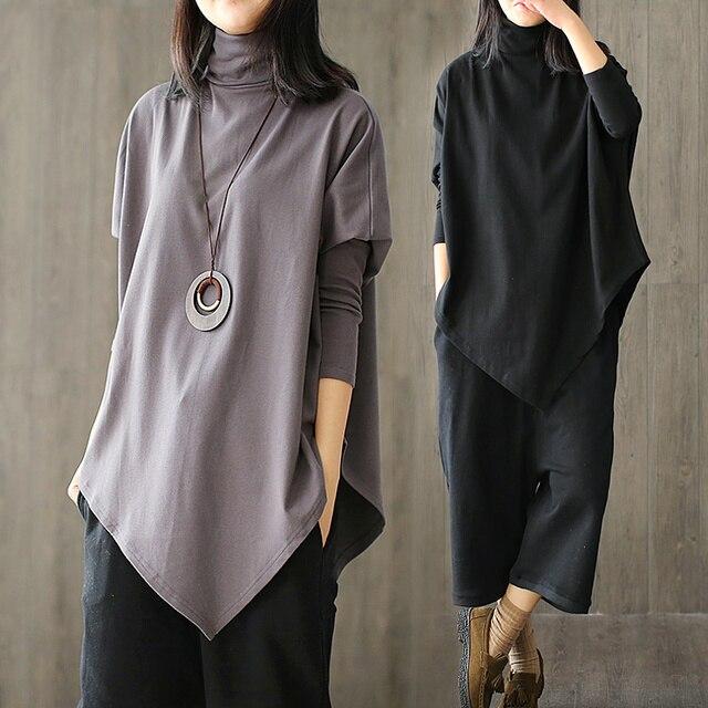 Mulheres Alta-gola Irregular projeto Longo-sleeved Bottoming Camisa Feminino Plus Size Tops T-shirts T-shirt de Algodão Solto T camisa