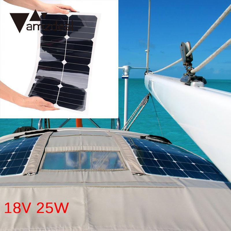 amzdeal 18V 25W Solar Panel Bank Flexible Car Vehicle Auto Solar Energy Battery Panel Board For Outdoor Travelling Power Supply 100w 12v monocrystalline solar panel for 12v battery rv boat car home solar power