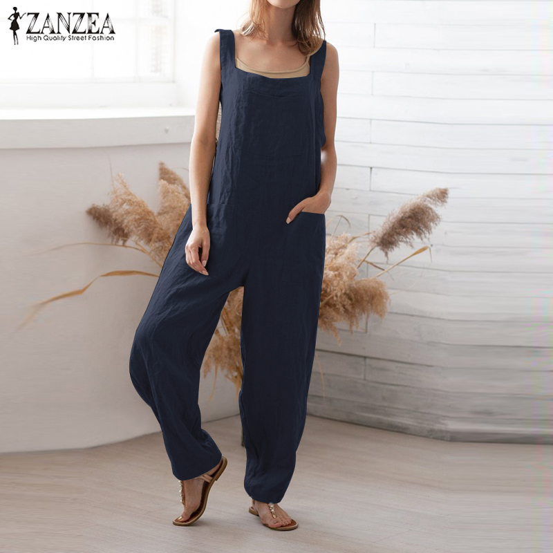 S 5XL ZANZEA Summer Party Overalls 2019 Women Solid Jumpsuits Causal Strappy Cotton Long Loose Suspender Rompers Female Playsuit