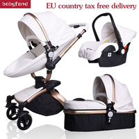 Babyfond 3 in 1 Luxury baby stroller PU MATERAIL two way push absorbers baby car cart trolley Europe baby Pram Free Gift AULON