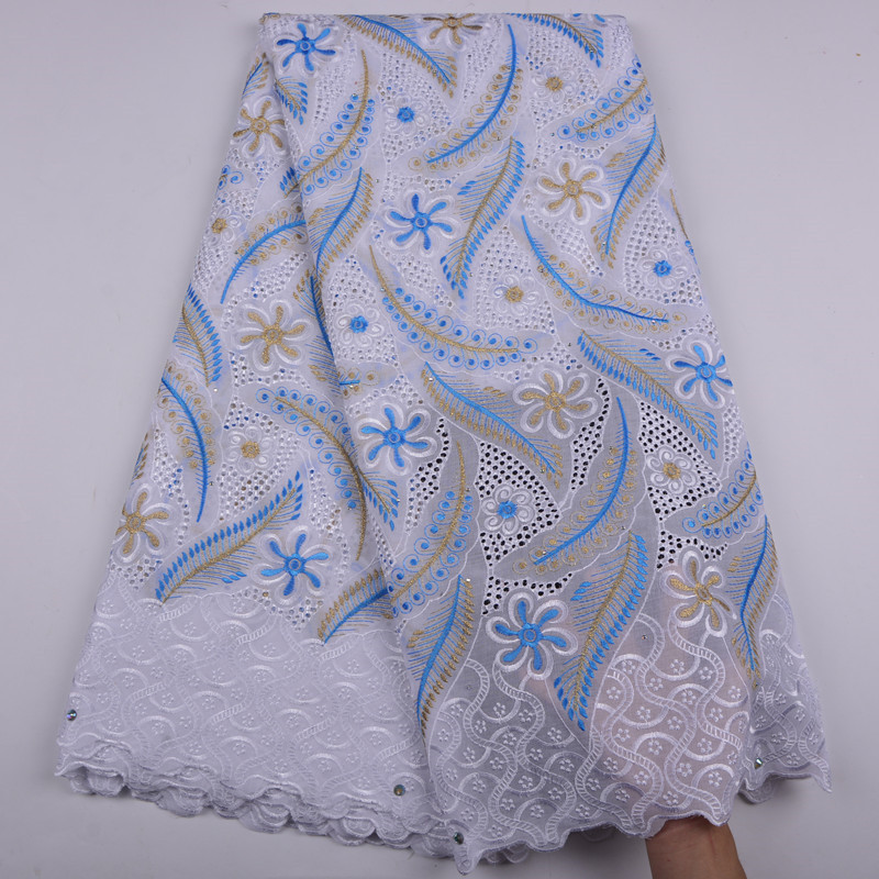 African Dry Lace Fabric Swiss Voile With Stones Swiss Cotton Lace High Quality 2018 White Lace