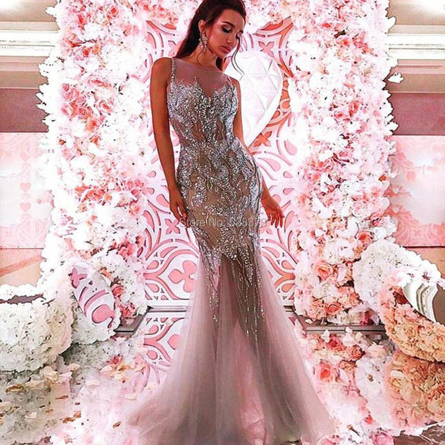 YNQNFS PD53 Sexy See-Through Heavy Beaded Silver Nude Two Tone Crystal Prom  Dresses af812d6a824b