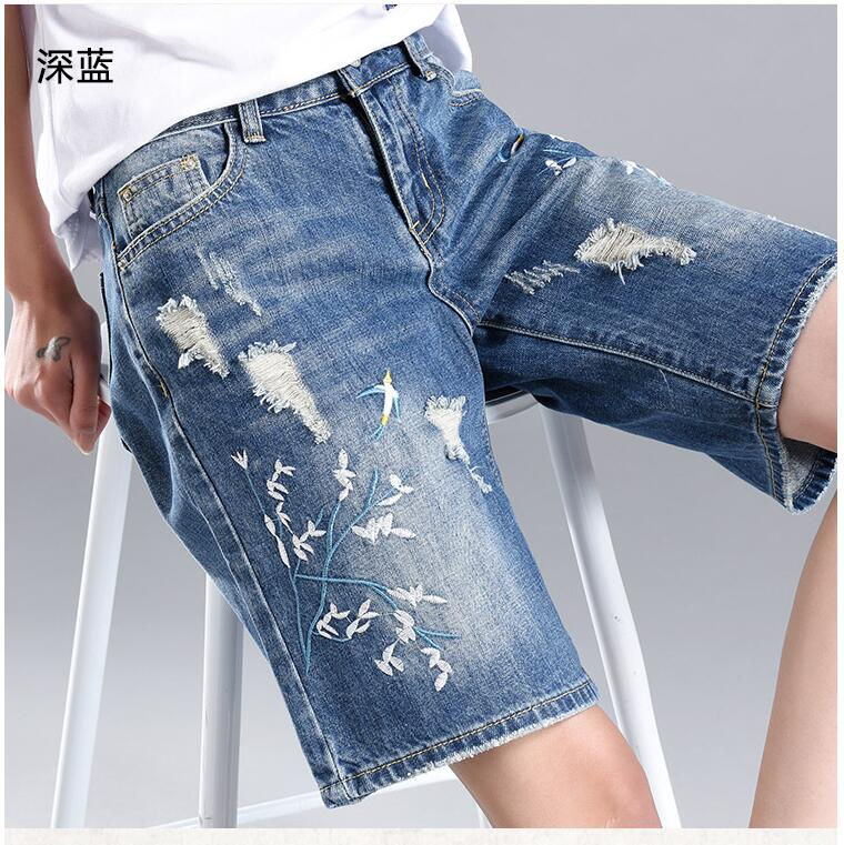 Hole denim shorts jean female  summer leisure all-match fashion loose wide leg straight jeans  embroidered flowers