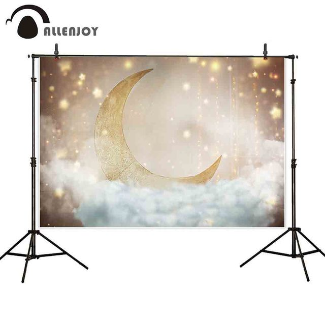 Allenjoy photography backdrop gold moon sky stars cloud background photocall photo shoot prop photobooth new fabric printed
