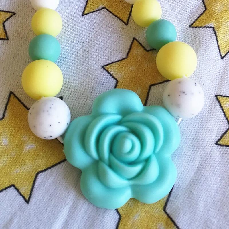 Купить с кэшбэком Chenkai 10pcs BPA Free Silicone Rose Flower Pendant Teether Beads DIY Handmade Baby Rattle Pacifier Dummy Sensory Chewing toy