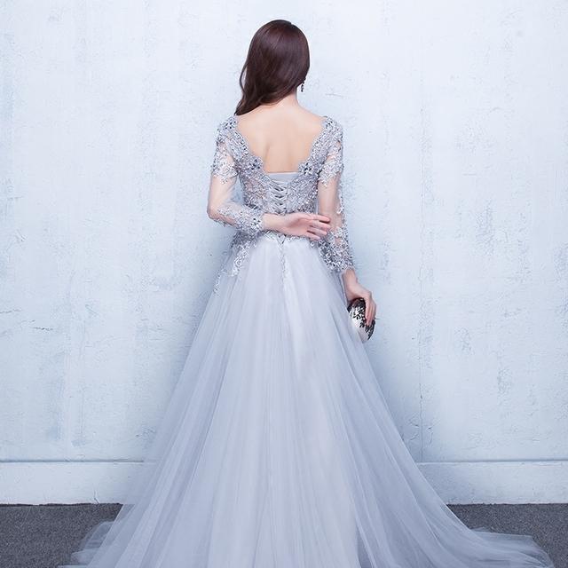 2019 suknie wieczorowe 3/4 rękawy Appliques Silver formalne suknia długa wieczorna impreza sukienka Vestido de Festa