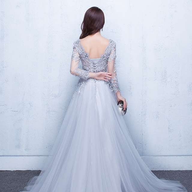 2020 Evening Dresses 3/4 Sleeves Appliques Silver Formal Gown Long Evening Party Dress vestido de festa 1