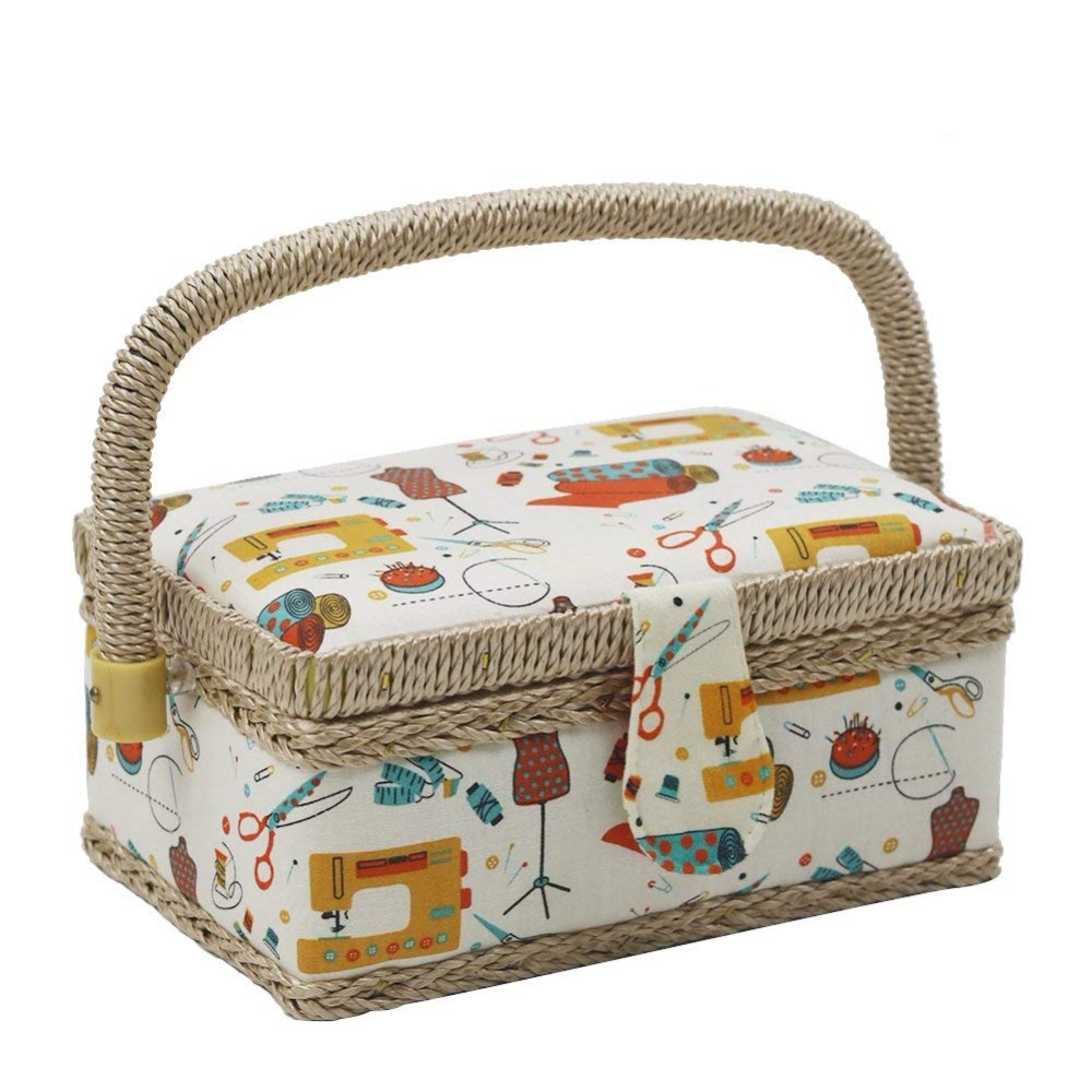 Sewing Basket With Sewing Kit Accessories Fabric Storage Basket Box Cotton Fabric Craft Sewing Tools Organizer Christmas Gifts