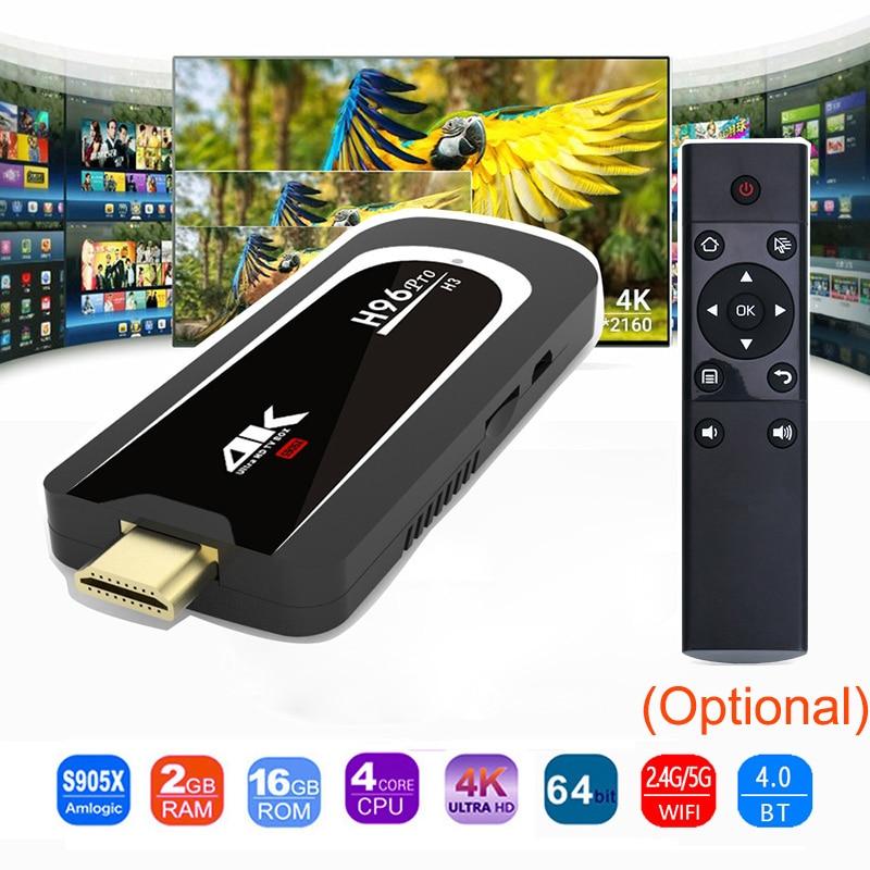 H96 Pro 4 K Tv Stick Android 7.1 OS Amlogic S905X Quad Core 2G 16G Mini PC 2.4G 5G Wifi BT4.0 1080 P HD Miracast TV dongle H96Pro