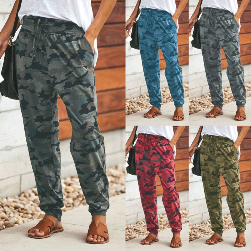 Women Ladies Camo Cargo Pants Harem Loose Sports Joggers Casual Camouflage Trousers