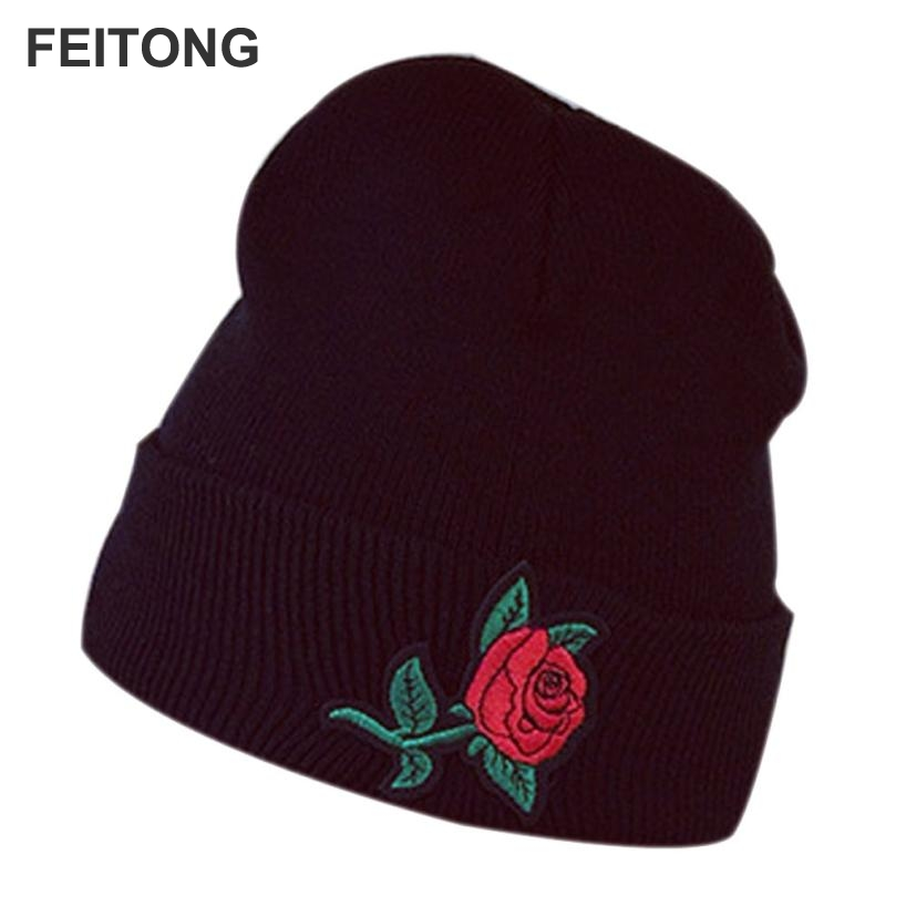 2017 Women's Winter Hats Keep Warm Rose Embroidery Applique Crochet Ski Hat Braided Cap gorros mujer invierno #EW