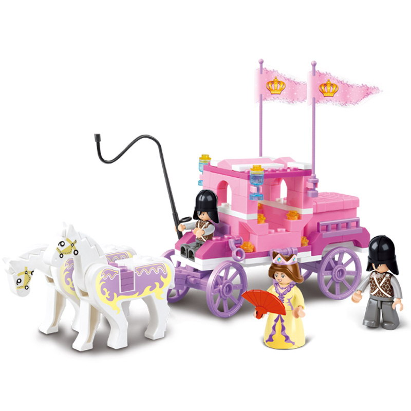0250 SLUBAN Girl Friends Princess Royal Carriage Wagon Model Building Blocks Enlighten Figure Toys For Children Compatible Legoe stylish round neck sleeveless floral print dress for women