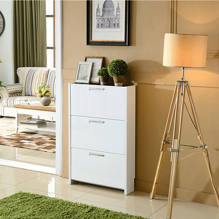 White Foyer Cabinet : White ultra thin paint tipping shoe rack simple minimalist