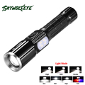 SKYWOLFEYE Zoomable T6 LED Flashlight Torch 1000 Lumen 3 Mode Bike Flash Warning Lamp Flash Light with USB Charging Function