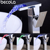 BECOLA LED chrome Faucet Bathroom Sink Faucet Waterfall Faucet Led Light Water Tap cold and hot water Basin Faucet mixer BR 715