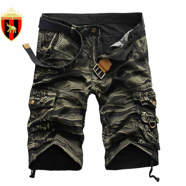 RICHARDROGER Waterproof Military Cargo Shorts Summer Men Male Loose Quick Dry Fashion Shorts Material Slim Short Male With Belt