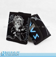 2015 New Unisex Anime Japanese Sword Art Online Theme Men's Letter wallet Short Design Flip Black Canvas Two Fold Walle