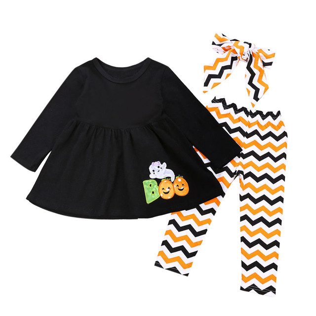 e560ccedb Halloween Trick Toddler Infant Baby Girls Letter camiseta roblox Ghost  Dresses Pants Halloween Costume Outfits Outwearing