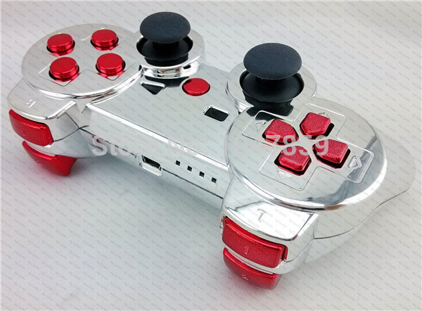custom chrome silver chrome red replacement shell housing case for sony ps3 controller with full - Manette Ps3 Color