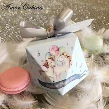 50pcs Blue cartoon unicorn diamond wedding gift candy box baby shower birthday party decoration chocolate box with ribbon