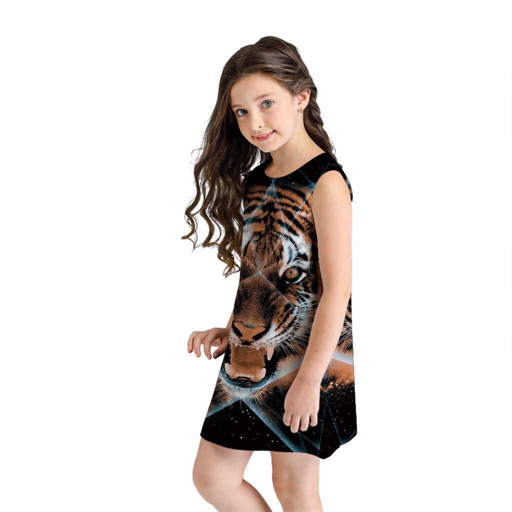 Платье для девочек; Детские платья для девочек; vestido; летнее для девочек-подростков; платья без рукавов с 3D принтом; повседневная одежда