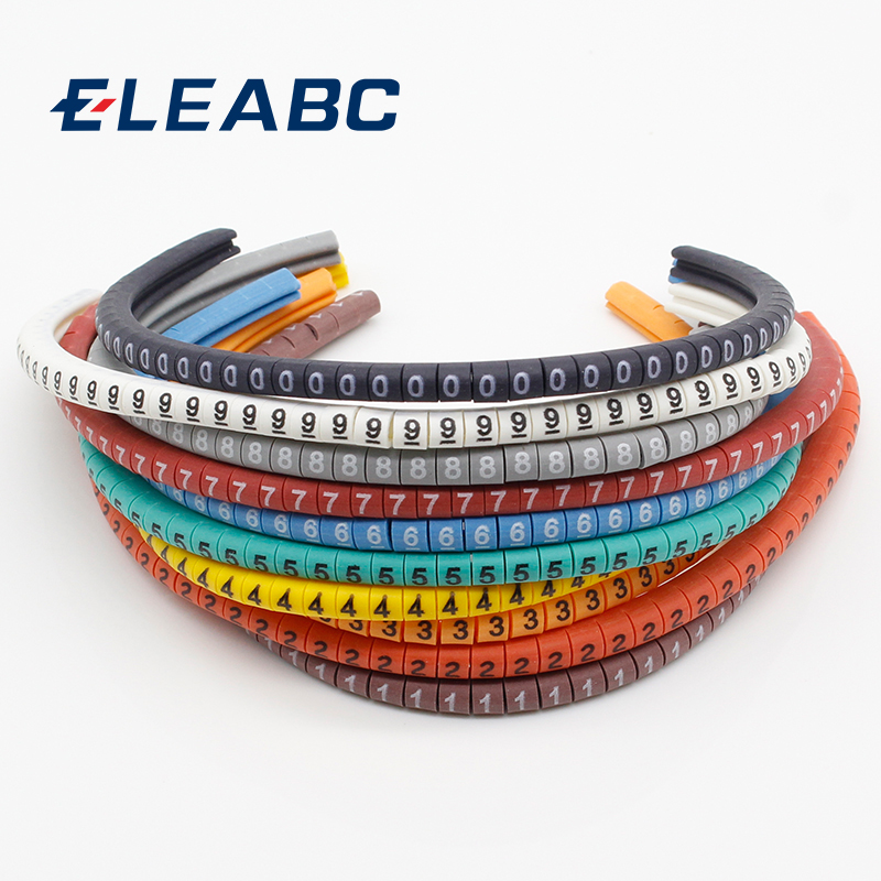 500PCS EC-0 Cable Wire Marker 0 to 9 For Cable Size 1.5 sqmm Colored цена