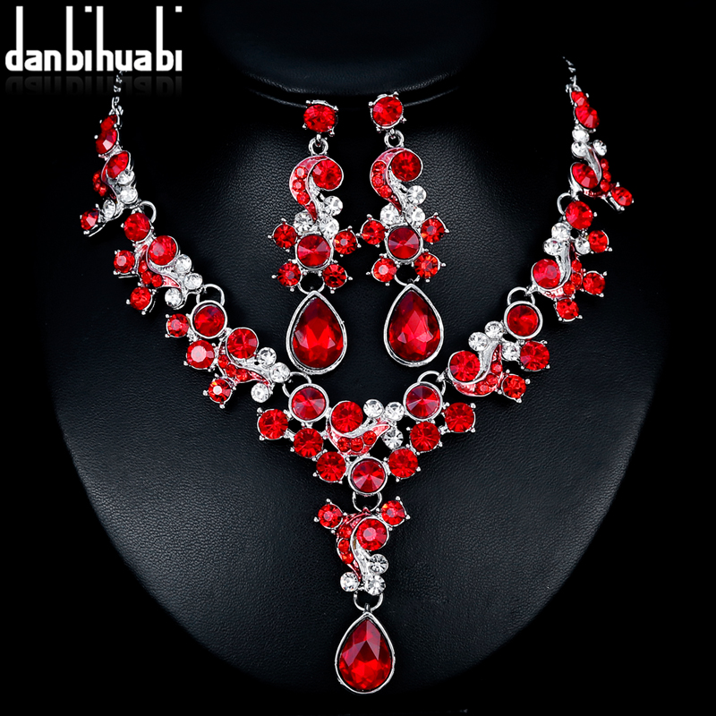 danbihuabi 2018 Exquisite Bridal Wedding Jewelry Sets Red Rhinestone Necklace Earrings Costume Jewelry Sets for Women 3 Color