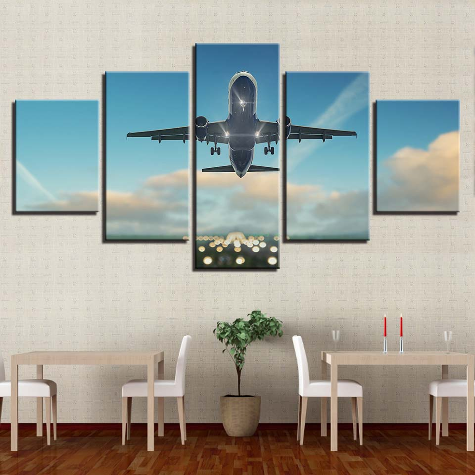 Creative Five Pieces Landscape Aircraft Canvas Oil Printings Painting Home  Wall Decor Framed Modern Space Art For Living Room In Painting U0026  Calligraphy From ...